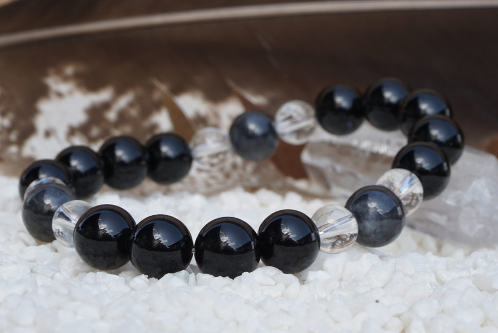 Morion and black jade and crystal bracelet-01-01