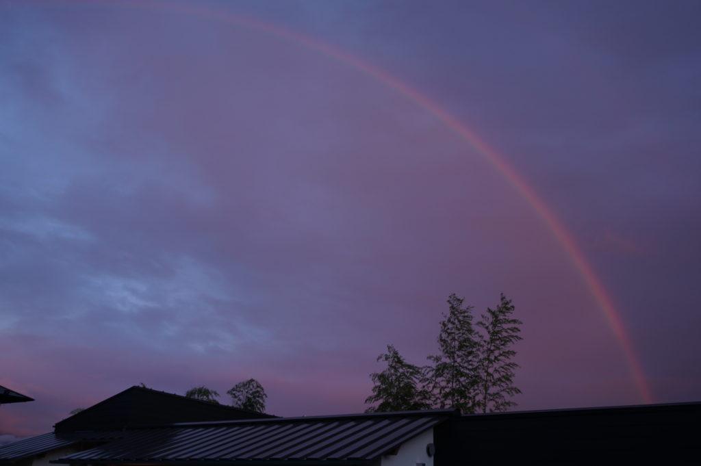 玉垣からの風景 夕陽に輝く虹