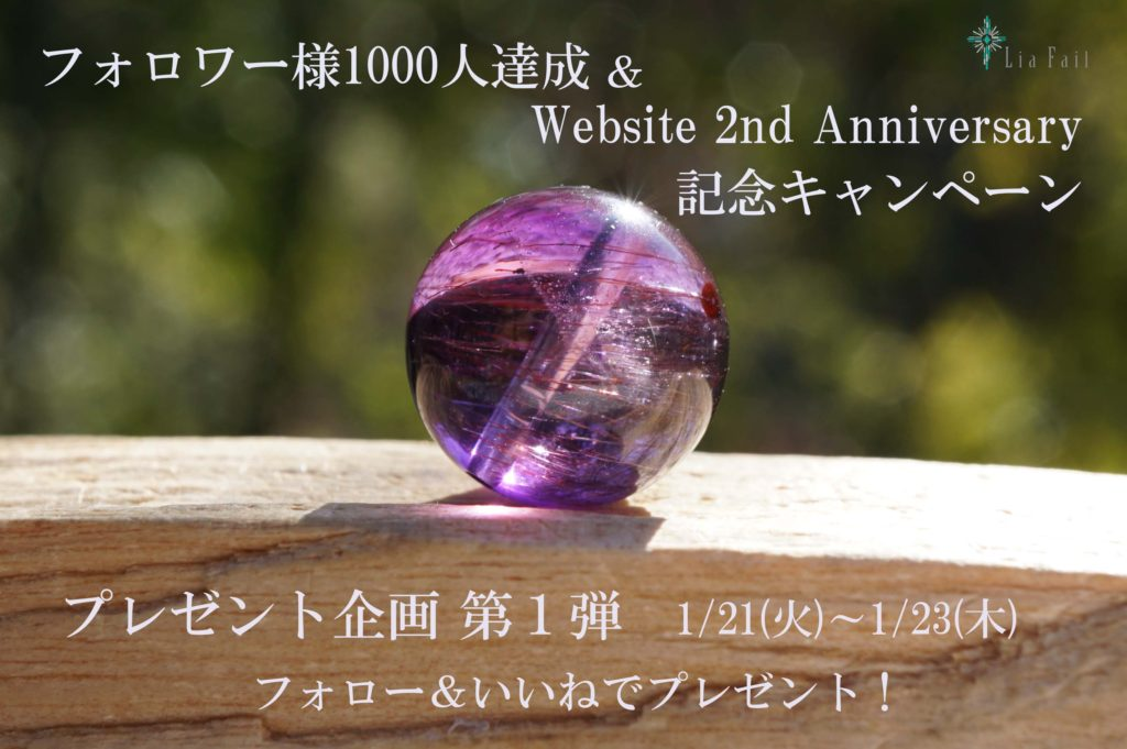 「Instagramフォロワー様1,000人達成  &  website 2nd anniversary 記念キャンペーン」投稿しました