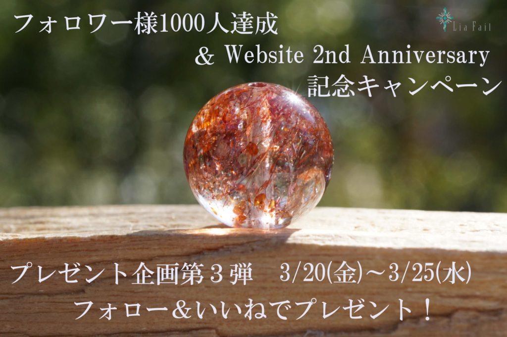「Instagramフォロワー様1,000人達成 & website 2nd anniversary 記念キャンペーン」第3弾投稿しました